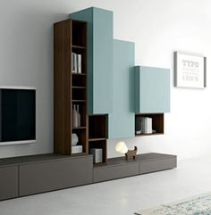 Modern living room TV unit for elegant contemporary interior design - dallagnese contemporary minimalist design TV unit Slim. Wall cabinets with flap fronts are matched - Living Room Cabinets, Tv Cabinet Design, Contemporary Interior Design, Modern Living Room, Living Room Tv, Living Room Design Modern, Living Room Tv Unit, Contemporary Interior, Modern Interior Design