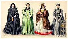 Renaissance Fashion under the Reign of Henri II. 16th century costumes. Nobility court dress.