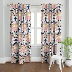 Deco Curtain Panel - Blush Protea Art Deco by helenpdesigns - Vintage Style Glam Pink Navy Marble 1 Blush Curtains, Panel Curtains, Curtain Panels, Printed Curtains, Custom Curtains, Protea Art, Living Spaces, Living Room, Curtain Patterns