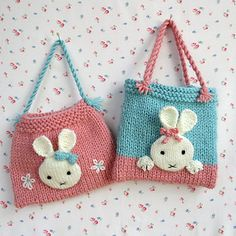 BUNNY BAGS are decorated with cute bunny faces. The bags are just the right size to hold a chocolate Easter egg or several smaller ones. After Easter, children will have great fun filling their bags with toys etc. If you'd like to knit a small bunny to fit into your bag then I recommend 'Rascal Rabbits', 'Baby Bunny in a Basket' or Bedtime Bunny as they are just the right size and all the patterns are available from my shop.