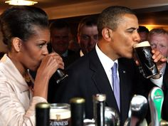 Even the president enjoys a refreshing drink from time to time! Barack and Michelle Obama sip glasses of Guinness while visiting Moneygall, Ireland, on May 23, 2011.