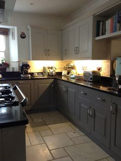 Farrow and Ball Cornforth White, and Mole's Breath kitchen