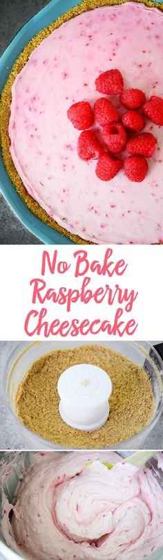 This No Bake Raspberry Cheesecake recipe comes together quickly and can be made ahead of time. The combination of berries and cream is a delicious treat.