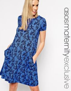 ASOS Maternity Swing Dress With Pockets In Swallow Print