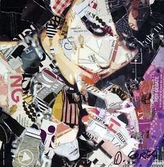 "Derek Gores, ""Butterflies and Blush"", collage on panel, 8"" x 8"","