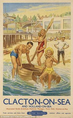 Vintage railway posters of UK seaside destinations...