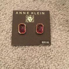 Anne Klein Purple Earrings Beautiful Earrings with purple stone and gold color rim. Brand New Anne Klein Jewelry Earrings