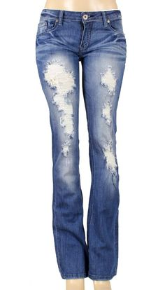Skinny Machine Jeans Light Wash Destroyed Denim - ST6438 | Style ...