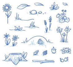 Vektor: Set of landscape and nature background parts: stump, strawberries, nuts & cones, stones, hills, grass, leaves and flowers. Hand drawn vector illustration.