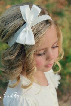 White Hair Bow Ivory Hair Bow Clip Children's Hair Bow by EvaJune, $14.00. Would be cute for flower girls. #childrensweddinghairstyles