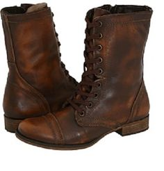 vintage, brown leather combat style boots, aged and worn