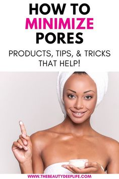 Find out how to minimize and shrink pores on the face using makeup and skincare, how to deep clean your pores, and how to prevent pores from getting large. Discover the cause of large looking pores and solutions that help! Get Rid Of Pores, Minimize Pores, Clean Pores, Clean Face, Face Cleaning Routine, Face Routine, Facial Skin Care, Anti Aging Skin Care, Best Face Products
