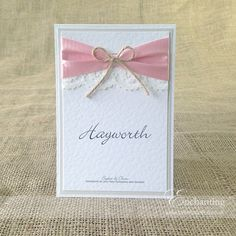 The Sugar Plum Collection - Table Name / Number Card | Featuring pink pastel ribbon, ivory lace and twine bow | Luxury handmade wedding invitations and stationery #byenchanting