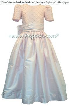 Flower Girl Dress with Trellis and Pearled Bodice in Pink Silk  | Pegeen