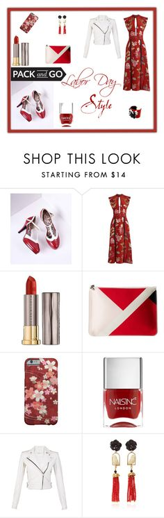 """Labor Day Red"" by taviakp ❤ liked on Polyvore featuring Burberry, Urban Decay, Alexander McQueen, Nails Inc., IRO, Of Rare Origin and vintage"
