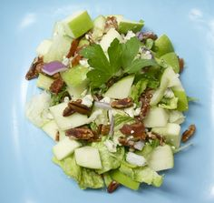 Chopped Apple & Blue Cheese Salad with Warm Bacon Vinaigrette Recipe Salads with crumbled blue cheese, granny smith apples, romaine lettuce, chopped pecans, thick-cut bacon, shallots, red wine vinegar, light brown sugar, dijon mustard, honey