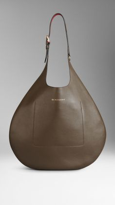 Burberry Medium Bonded Leather Hobo Bag in Green (military olive)