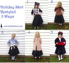 Here you will find a holiday skirt restyled 5 different ways. So your special holiday skirt will see some action before next year! Holiday Skirts, Skirt Outfits, 5 Ways, Holidays, Cute, Holidays Events, Holiday, Kawaii, Skirt