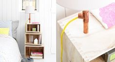 Clever, the modular bedside shelf with built-in lamp has it all! Find out how to make it easy. Supplies 3 boxes of different sizes A bell saw Cleats Felt A
