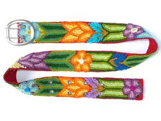 Wool embroidered belt handmade belt floral belts by EmbroideryPeru