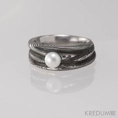 Romantic PEARL Wedding or Engagement Ring, Womens rustic hand forged DAMASCUS steel ring, ring for her,ladies ring,female ring - Water Nymph. This ring is handmade of damascus stainless steel DAMASTEEL and is complemented with a river white pearl.