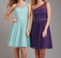One Shoulder Junior Purple Lace Short Blue Cheap Wedding Bridesmaid Dresses, WG361 The dress is fully lined, 4 bones in the bodice, chest pad in the bust, lace up back or zipper back are all available