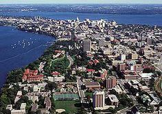 An aerial view of the Madison isthmus and the University of Wisconsin-Madison. Madison is the perfect sized city, not too big or too small with many fun activities to enjoy! Monona Terrace is the hosts of many of those fun events.