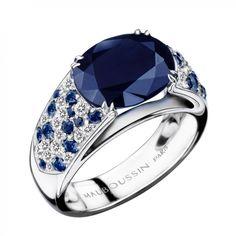 Bague Nuit d'Amour, Or Blanc, Saphir Bleu Mauboussin