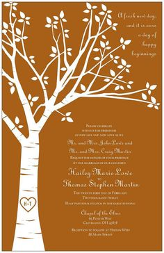 Wedding invite tree love especially for outdoor wedding and a tree cake