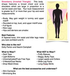 """Great fashion tips for strawberry/inverted triangle body shapes. A page out of my book """"Overcoming Your Wardrobe"""""""