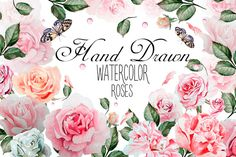 Hand drawn watercolor roses 2 by knopazyzy on @creativemarket