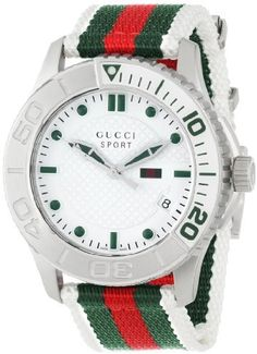 Gucci Watch , Gucci Men's G-Timeless Dive White Dial Nylon Strap Watch Fossil Watches, Rolex Watches, Best Sports Watch, Gucci Watch, Patek Philippe, Luxury Watches For Men, Gucci Men, Fashion Watches, Men's Fashion