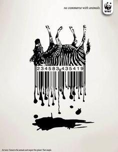 Interesting concept for integrating technology (UPC codes) with a cause (animal commerce). The choice of a zebra is apt since the global leader in bar coding is Zebra Technologies although Zebra may not want to be associated with the image.