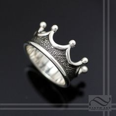 Mens Crown Ring  Choose your metal by mooredesign13 on Etsy, $190.00