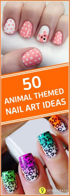 Flaunting animal themed nail art shows your wild side and it also depicts your love towards the animals or your pets. Check out these colorful animal print nail art! Panda Nail Art, Bird Nail Art, Funky Nail Art, Butterfly Nail Art, Animal Nail Art, Easy Nail Art, Animal Makeup, Tiger Nails, Owl Nails