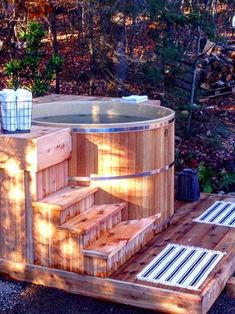 The decking around Colin and Justin's Canadian Hot Tub is complete and ready for guests.