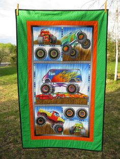 Monster trucks  Toddler Quilt boys  bright colors by GailsStitches, $90.00