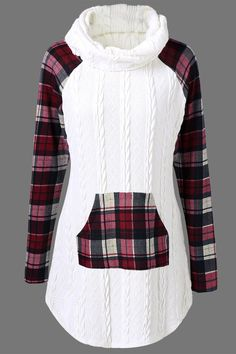 $22.66 Plaid Cable Knit Tunic Sweater