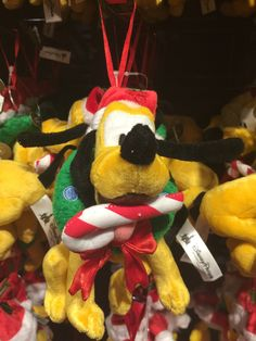 disney parks christmas ornament pluto plush new with tag