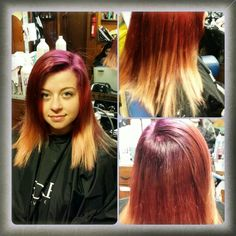 Red violet, red blonde ombre