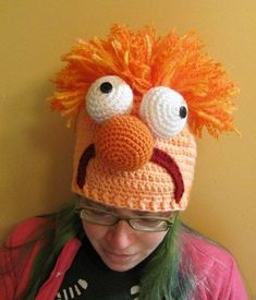 Beaker the Lab Assistant Muppet Hat Crocheted to Order in All Sizes. I'm gonna wear it in the lab Crochet Cap, Crochet Baby Hats, Crochet Beanie, Cute Crochet, Baby Blanket Crochet, Crochet For Kids, Knitted Hats, Crochet Clothes, Crazy Hats