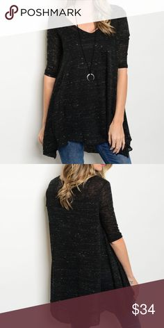 •NEW•'KARA' TUNIC TOP• Black marled, 3/4 sleeve, lightweight tunic top. Would look amazing with our 'Mila' leggings and over-the-knee boots! Made in USA. 97% Polyester 3% Cotton. Style # HD30300AO7 Evette Encounters Tops Tunics