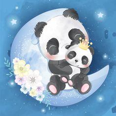 Cute panda mother and baby Premium Vecto. Little Panda, Panda Love, Boat Cartoon, Cute Cartoon, Little Elephant, Cute Elephant, Animal Drawings, Cute Drawings, Pen Drawings