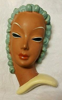 Art Deco Goldscheider Austria Curly Hair Tanned Woman Ceramic Wall Face Mask
