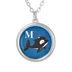 #initial - #Cute Personalized Black White Orca on Blue Glitter Silver Plated Necklace