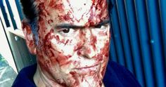 First Ash Vs Evil Dead Season 3 Set Photo Covers Bruce in Blood -- Bruce Campbell shares a blood-soaked image from the set of Ash Vs. Evil Dead Season 3 as shooting continues. -- http://tvweb.com/ash-vs-evil-dead-season-3-photo-bruce-campbell/