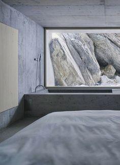 Concrete bedroom.