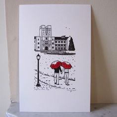 Virginia Tech Love gocco art print. $15.00, via Etsy.