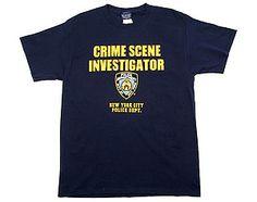 NYPD CSI - Crime Scene Investigator  http://www.nyfirestore.com/NYPDtees.html#