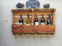 Recycled Double Pallet Wall Wine Rack, Kitchen Spice Rack, Choose Stain Color…